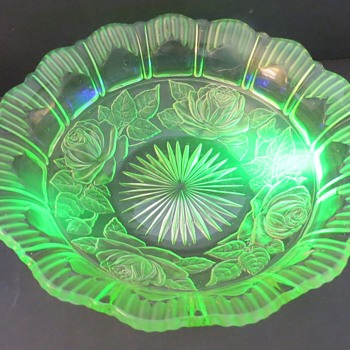 Sowerby Uranium Glass Bowl with Roses Design 2565 - Glassware