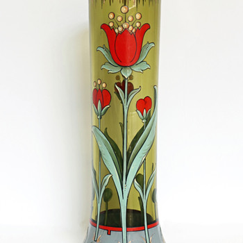 Harrach Enameled Glass Vase in the Arts & Crafts Style - Art Glass