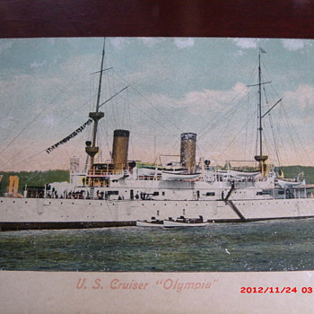 """Postcard of U.S. Cruiser """"Olympia"""" - Military and Wartime"""