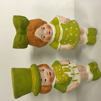 Antique paper Mache boy & girl - Figurines