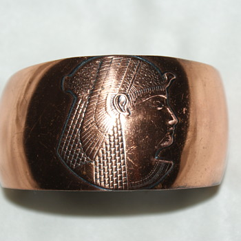 Copper Bangle with Egyptian Motive - Costume Jewelry