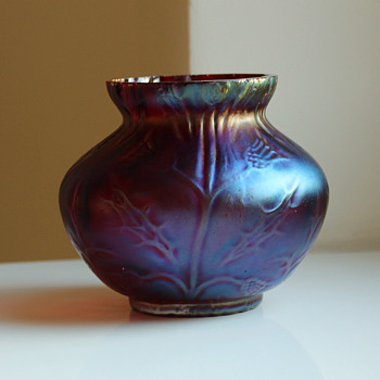 "Purple Iridescent Uncommon ""Thistle Decor""  - Art Glass"