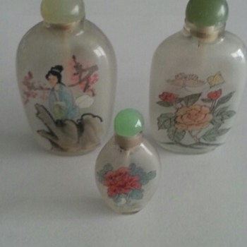 3x  Snuff Bottles Inside-Painted  (Chinese or Japanese) - Asian