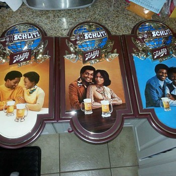 African american Schlitz sign set