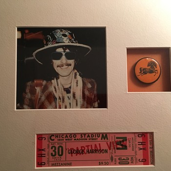 George Harrison ticket & pin-1974 - Music Memorabilia