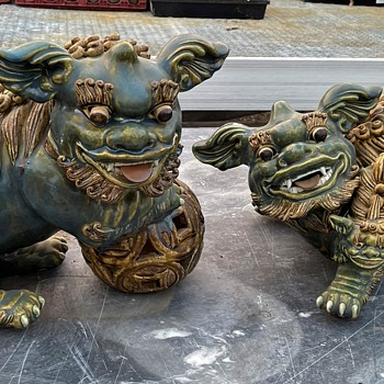 Wonderful Hand-Built Huge Foo Dogs / Buddhist Lions - Asian