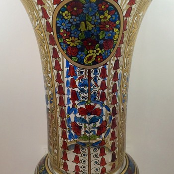 Julius Mühlhaus & Co. hand-enameled glass vase, ca. 1910-1915 - Art Glass