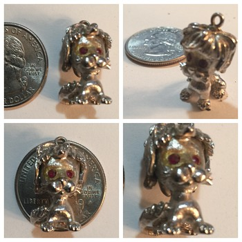 Silver dog  Miniature Pendant Red Eyes 1 Inch Tall. The Size of a U.S.A. Quarter, no markings?? - Costume Jewelry