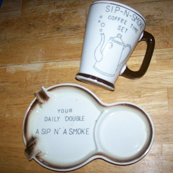 Ashtray and Coffee cup combo - Tobacciana