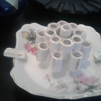 Ashtray, porcelain, floral, with cigarette holders - Tobacciana