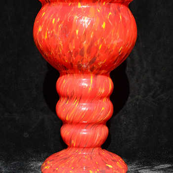 Czech red spatter vase - Art Glass