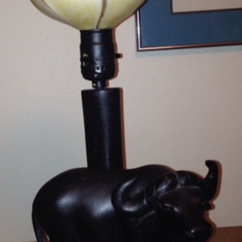 Ebony wood; water buffalo lamp - Lamps