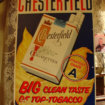 Chesterfield Cigarettes...Embossed Tin Sign - Signs