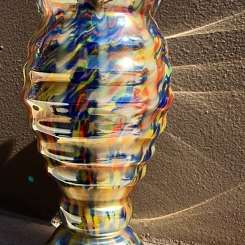 Czech glass Zipper vase (1920-30's) - Made by A-A - Art Glass