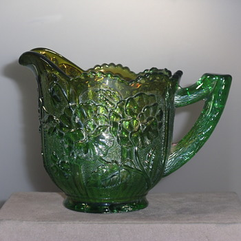 Imperial Glass - Pansy Creamer - Green Carnival Glass  - 1911 & 12 - Art Glass