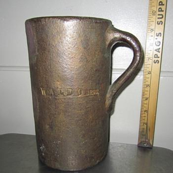 antique sewer tile advertisement large (sewer pipe mug) folk art Waldo Bros. boston MA - Pottery