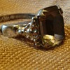 1950's Uncas Patent  Silvertone Flower & Amethyst Glass Ring