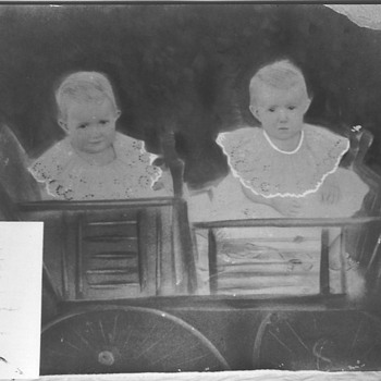 Twins In a Buggie - Folk Art