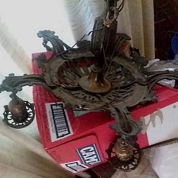 """Empire Company"" 5 Light Bronze Chandelier / Circa 1920's - Lamps"