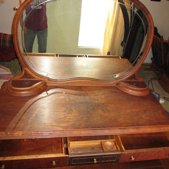 antique walnut round mirror antique and vintage dressers collectors weekly