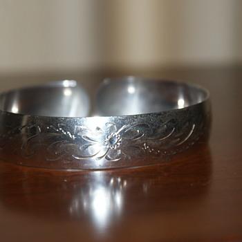 Vintage Sterling Birks Engraved Cuff Bracelet - Fine Jewelry