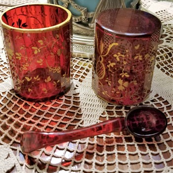 "Pair of 4"" Ruby tumblers  - Art Glass"