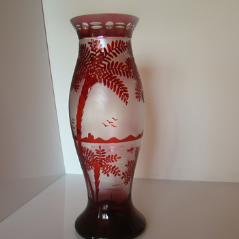 Bohemian (? ) etched glass vase - Art Glass