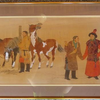 Original Mou-Sien Tseng painting of Mongol Horsemen - Fine Art