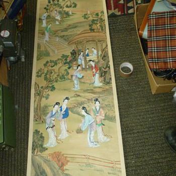 Vintage Oriental silk scrolls