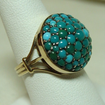 Victorian Pave Turquoise Gold Ring - Fine Jewelry