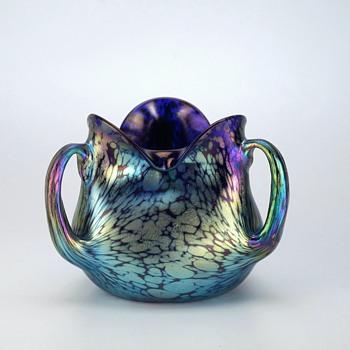 Loetz Cobalt Blue Papillon Vase with Three Extruded Handles - Art Glass