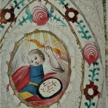 Antique St. Matthias St. Michael Hand Painted And Hand Cut Watercolor Holy Cards In Frame - Fine Art