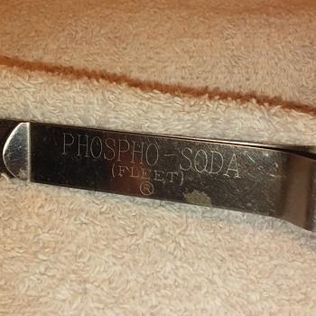 stainless steel FLEET PHOSPHO-SODA spring clip - Advertising