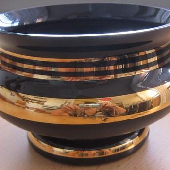 vintage deep black or deep violet grinding bowl gilded candies?, Bubble vase violet handy glass , yellow depressed vase ,  - Art Glass