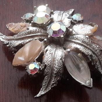 1940s /1930s Carved glass & ab rhinestone brooch - Costume Jewelry