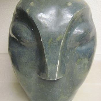 Mystery Heavy Signed Face Vase-Student? - Pottery