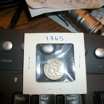 1865 liberty 3 cent silver coin