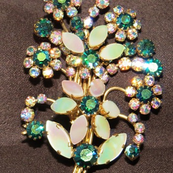 Large Blingey Flower Spray Brooch - Costume Jewelry