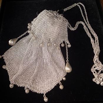 Victorian Art Nouveau Silver T Draw String Ball Fine Mesh Purse  - Bags