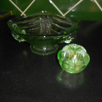 Vintage elephant handled Uranium Glass posy dish/bowl & flower arranging frog - Glassware