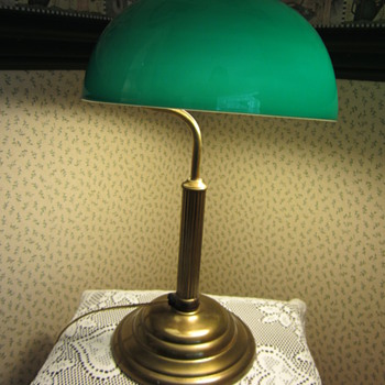 'Very old brass table lamp with green glass shade - Lamps