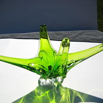 Green Canadian Art glass console - Art Glass