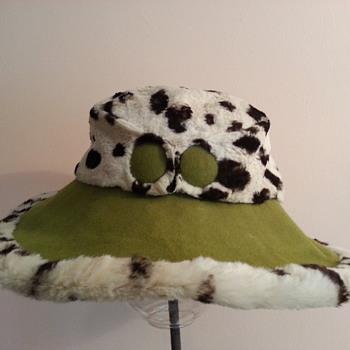 1960's Ocelot and Green Felt Hat - Hats