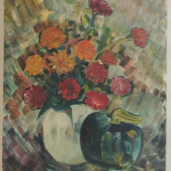 Unsigned canvas floral painting with vase and apple.?? - Fine Art