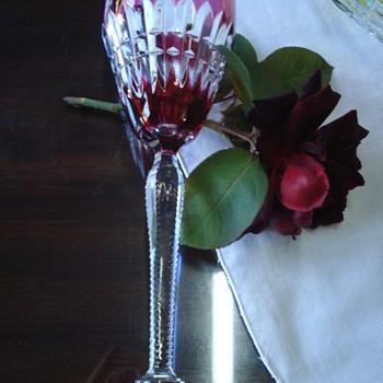 Six tall Val Sant Lambert goblets - Art Glass