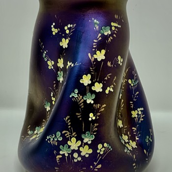 Pair of Loetz Enameled Rubin Matt Iris Vases, PN II-390, ca. 1900 - Art Glass