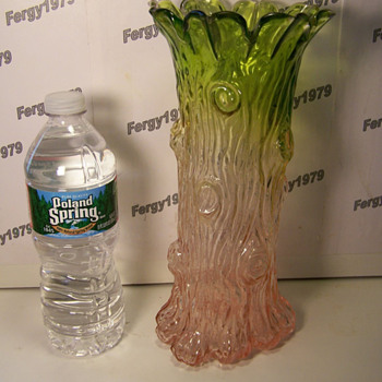 Large Blown Molded Tree Trunk Vase with Ground Pontil - Art Glass