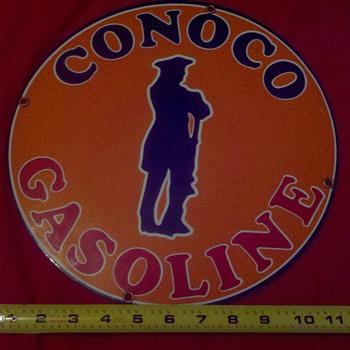 Orange Conoco Gasoline metal sign - Signs