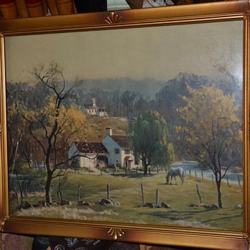 An old landscape print.