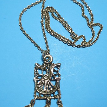 Brutalist Modernist Pendant Necklace - Costume Jewelry